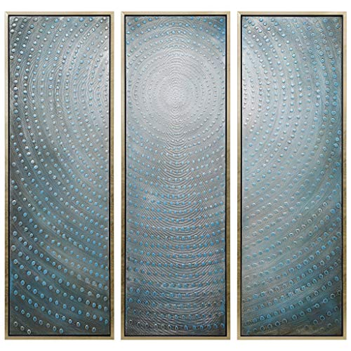 Empire Art Direct Empire Art Concentric Hand Painted, Heavily Textured Bold Neutrals by Martin Edwards Wall Décor, 60in.x20in.x1.5in.ea, Metallic, Blue
