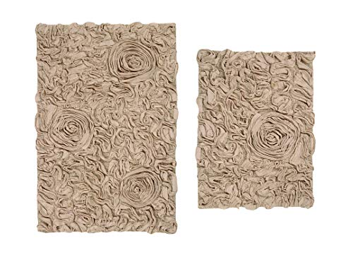 Home Weavers Bell Flower Collection Absorbent Cotton, Soft Rug, Machine wash Dry, 17'x24'/21'x34', Linen