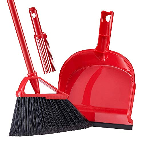 AOSERI Angle Broom with Dustpan, Red Dust pan Snaps On Broom Long Handles for Home, Office, Kitchen, Lobby Floor Use