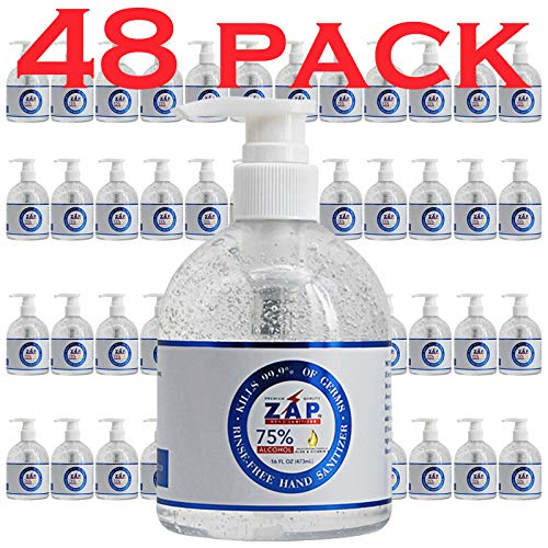 ZAP Hand Sanitizer Gel (48 Pack - 16 OZ Pump Bottle) 75% Ethyl Alcohol - Kills 99.9% of Germs With Moisturizing Aloe & Vitamin E