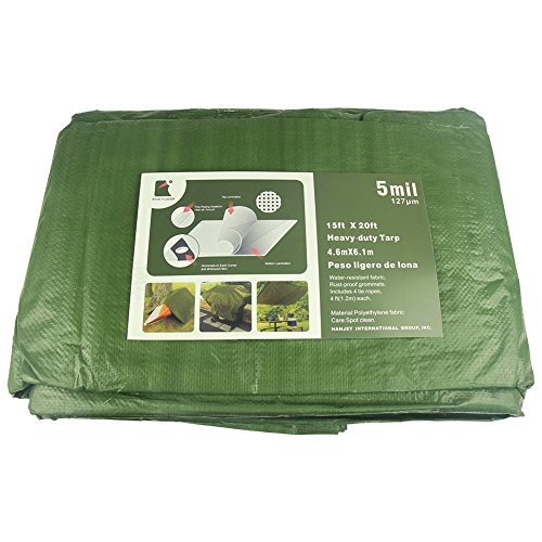 Star Plover Heavy Duty Poly Tarps 15X20 Feet Army Green Waterproof Durable PE Tarps Roof Boat Tent Outdoor Cover