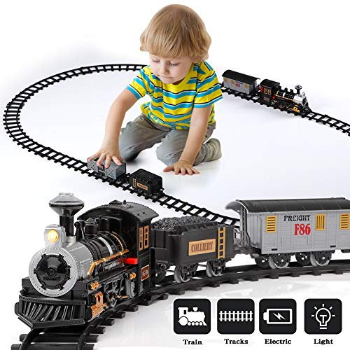 Lucky Doug Electric Train Set for Kids, Battery-Powered Train Toys with Light & Sounds Include Locomotive Engine, 4 Cars and 10 Tracks, Classic Toy Train Set Gifts for 3 4 5 6 Years Old Boys Girls
