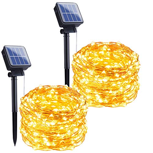 Outdoor Solar String Lights, 2 Pack 33FT 100 LED Solar Powered Fairy Lights with 8 Lighting Modes Waterproof Decoration Copper Wire Lights for Patio Yard Trees Christmas Wedding Party (Warm White)