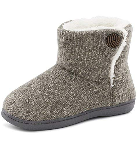ULTRAIDEAS Women's Soft Yarn Cable Knit Bootie Slippers Memory Foam Indoor & Outdoor Shoes w/Adjustable Suede Lace (Large / 9-10 B(M) US, Gray)