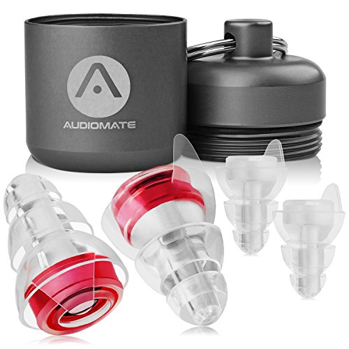 Audiomate High-Fidelity Earplugs with Metal Keychain Carry Case and 2 Interchangeable Earbuds Comfortable Soft Silicone HiFi Noise Attenuating Ear Plugs for Musicians, Concert, Sleeping & More