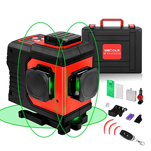12 Lines Laser Level, 3x360° 3D Green Cross Line, Rechargable Li-ion battery, Remote Controller, Switchable & Auto Self-Leveling, Three-Plane Leveling and Alignment, with Portable Toolbox