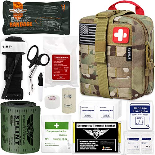 EVERLIT Emergency Trauma Kit GEN-I with Aluminum Tourniquet 36' Splint, Military Combat Tactical IFAK for First Aid Response, Critical Wounds, Gun Shots, Severe Bleeding Control (GEN-1 Camouflage)