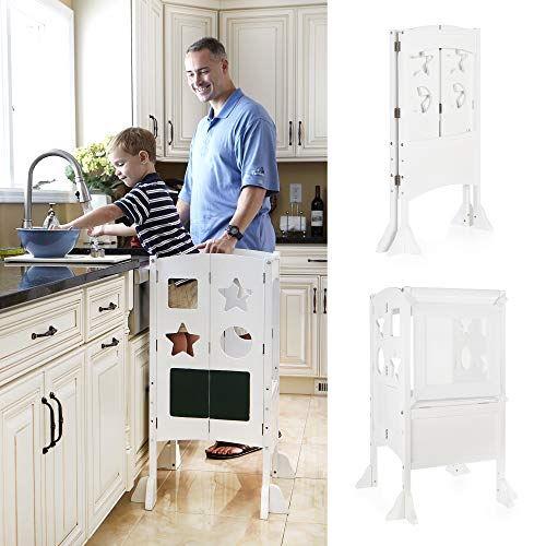 Guidecraft Classic Kitchen Helper Stool - White W/Keeper and Non-Slip Mat: Foldable, Adjustable Height Safety Cooking Stool for Toddlers with Chalkboard and Whiteboard Message Boards