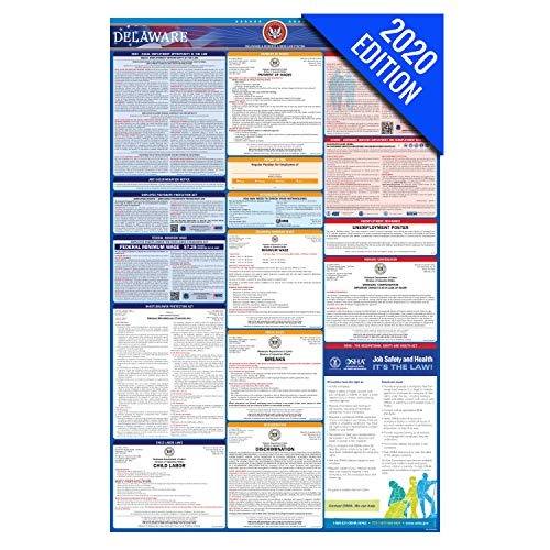 DE Labor Law Poster, 2020 Edition - State, Federal and OSHA Compliant Laminated Poster (Delaware, English)