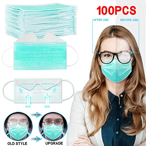 Darkduke Anti-Fog Macks Face Bandanas 3-Ply Safety Mouth Shield Facial Protection Filtration, Anti-Fog, Dust-Proof Headgear Full Face Protection (Green,100pcs)