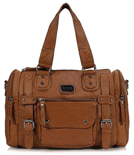 Scarleton Satchel Handbag for Women, Ultra Soft Washed Vegan Leather Crossbody Bag, Shoulder Bag, Tote Purse, Brown, H148504A