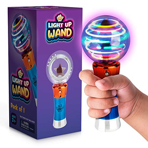 Spinning Light-Up Wand for Kids in Gift Box, Rotating LED Toy Wand for Boys and Girls, Magic Princess Sensory Toys for Autistic Children, Best Birthday Gift for Kids 3, 4, 5, 6, 7