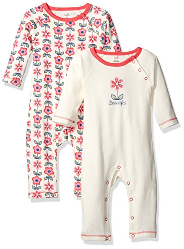 Touched by Nature Baby Organic Cotton Coveralls, Flower, 6-9 Months