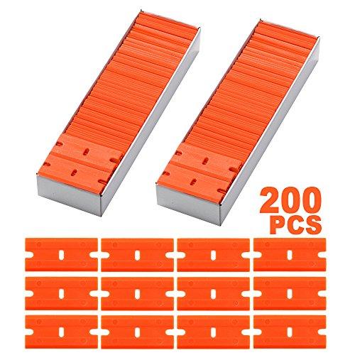 FOSHIO 200Pcs 1.5' Plastic Razor Blades for Safety Titan Scraper, Double Edged Plastic Scraper Blades Remove Decals/Stickers/Adhesive Label/Clean Glass