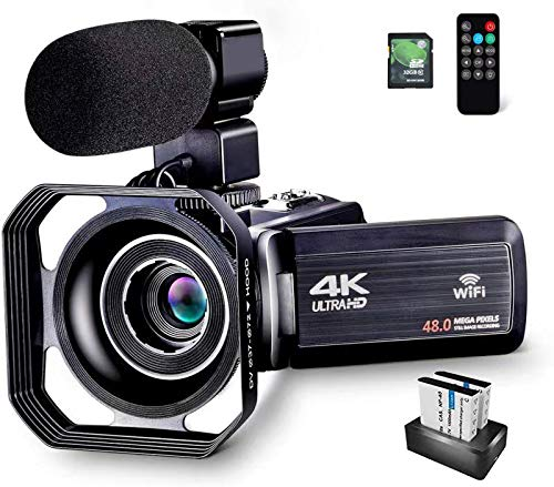 OIEXI 4K Camcorder Vlogging Camera for YouTube 48MP HD Digital Camera with 16X Digital Zoom Video Recorder with Microphone (32GB SD Card, 2 Batteries Included)