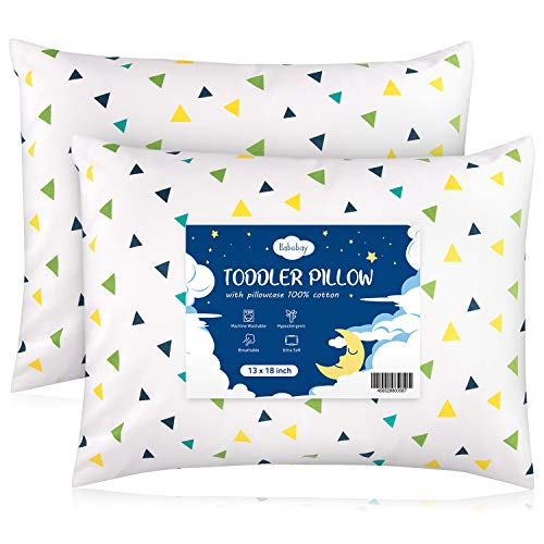 Babebay Toddler Pillow with Pillowcase, 2Pack-13 x 18 Baby Pillows for Sleeping, Unisex Small Kids Pillows Machine Washable with Soft Organic Cotton Cover, Colorful Triangle