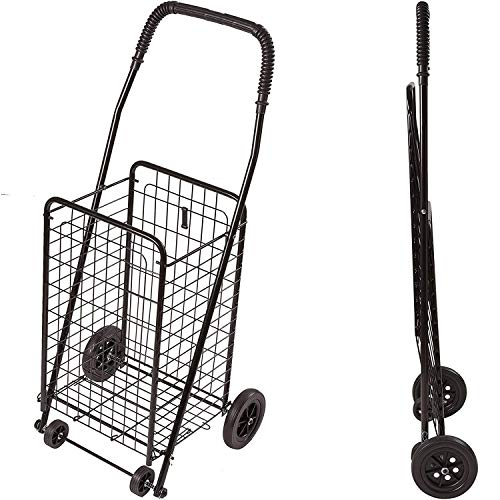 DMI Folding Utility Cart on Wheels, Shopping Trolley, Lighweight and Compact, Black