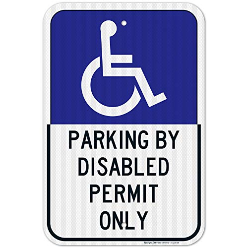 Florida Handicap Parking Sign, Parking by Permit Only, Large 12x18 3M Reflective (EGP) Rust Free .63 Aluminum, Weather/Fade Resistant, Easy Mounting, Indoor/Outdoor Use, Made in USA by SIGO SIGNS