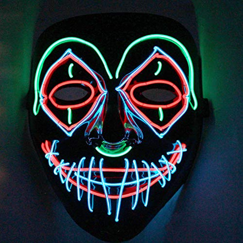 Halloween LED Purge Scary Mask Light Up LED Mask Cool Costume Accessories (Clown)