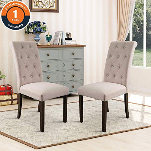 Merax Noble and Elegant Solid Wood Tufted Dining Chair (Set of 2), Beige