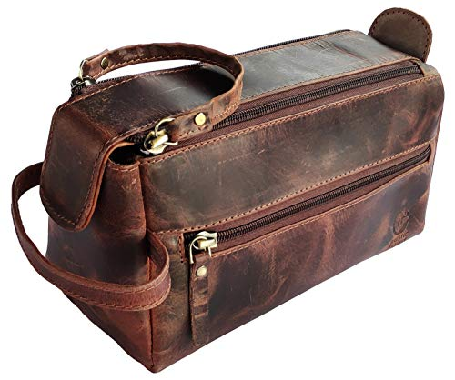 Leather Toiletry Bag for Men - Hygiene Organizer Travel Dopp Kit By Rustic Town (Walnut Brown)