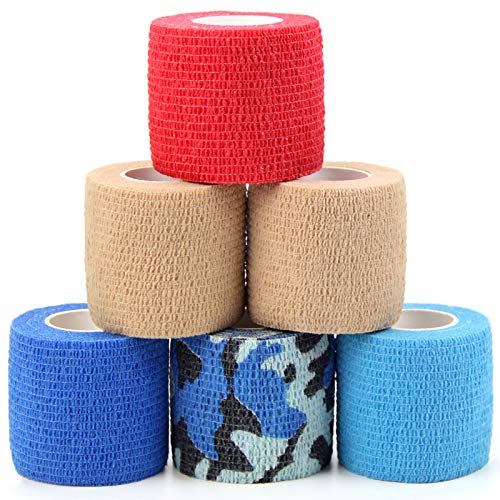 MUEUSS Vet Wrap Pet First Aid Tape Waterproof Self Adherent Cohesive Bandage for Dogs Cats Horses Breathable Non-Woven Elastic Sport Tape for Arm Knee Ankle Sprain (6 Rolls, 2' x 5 Yards)
