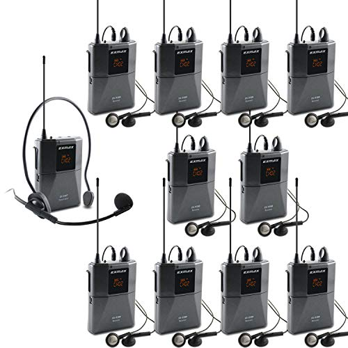 EXMAX UHF-938 UHF Acoustic Transmission Wireless Headset Microphone Audio Tour Guide System 433MHz for Church Translation Teaching Travel Simultaneous Interpretation- 1 Transmitter and 10 Receivers