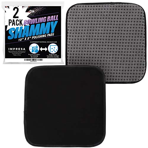 IMPRESA Bowling Ball Towel 10 x 8 Inch Pack of 2 - Microfiber Bowling Shammy Pad with EZ Grip - Bowling Towel That Wipes Dirt & Oil Clean Off - Cleaning Pad - Bowling Accessories
