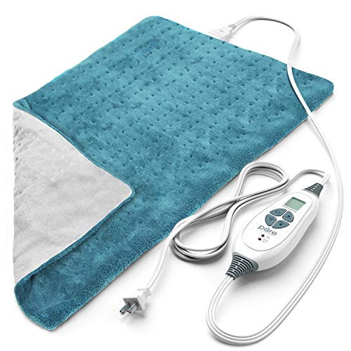 Pure Enrichment PureRelief XL (12'x24') Electric Heating Pad for Back Pain and Cramps - 6 InstaHeat Settings, Machine-Washable, Ultra-Soft Microplush, Auto Shut-Off, and Moist Heat (Turquoise Blue)