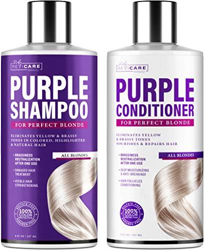 Purple Shampoo and Conditioner Set - Blonde Shampoo - Made in USA - Mild Formula - Hair Toner Shampoo & Conditioner for Brassy Hair - Purple Toning Shampoo & Overtone Conditioner