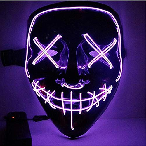 Moonideal Halloween Light Up Mask EL Wire Scary Mask for Halloween Festival Party Sound Induction Twinkling with Music Speed Purple