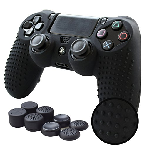 Pandaren PS4 Controller Grip,Studded Anti-Slip PS4 Controller Cover Silicone Skin for PS4 /Slim/PRO Controller(Black Controller Skin x 1 + FPS PRO Thumb Grips x 8)