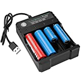 USB Smart Battery Charger 4-Bay 5V 2A for Rechargeable Batteries 3.7V Li-ion TR IMR 1865O 2665O 145OO 16340(RCR123) Red/Green Display (Not Battery)