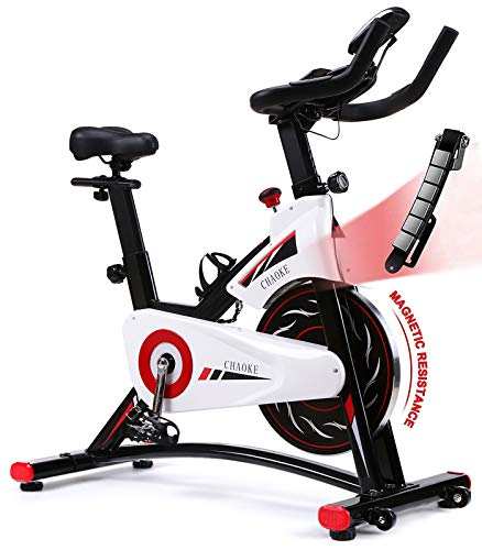 Exercise Bike, CHAOKE Indoor Cycling Bike, Stationary Bike for Home Cardio Workout with Whisper Quiet Magnetic Brake System, Comfortable Seat Cushion & Heavy Flywheel, Digital Monitor Included (2020 Upgraded)