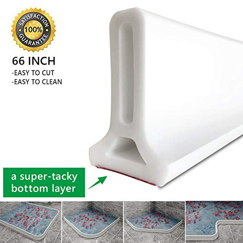 66 Inch Collapsible Shower Threshold Water Dam Shower Barrier and Retention System and Keeps Water Inside Threshold
