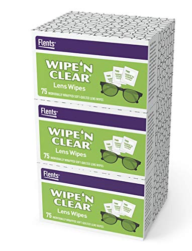 Flents Eyeglass Cleaner Lens Wipes - 225 Count (3 Boxes of 75) Individually Wrapped Pre-Moistened Cleaning Cloths Anti-Streak for Eyeglasses, Sunglasses, Phone Screens, Computer Monitors