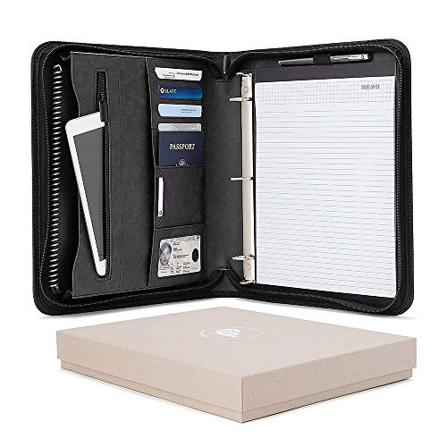 Forevermore Portfolio Padfolio with Zippered Closure, Removable 3 Ring Binder & Bonus Letter Size Writing Pad/Interview & Resume Document Organizer/Notebook & Business Card Holder, Black