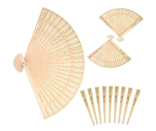 Forsun Sandalwood Fan (Set of 50 pcs) - Baby Shower Gifts & Wedding Favors&birthday gifts&Christmas gift