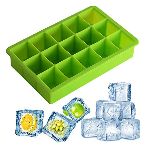 Ice Mold Flexible Silicone Ice Cube Molds Maker Tray, 15 Giant Square Ice, Big Ice Cube Maker