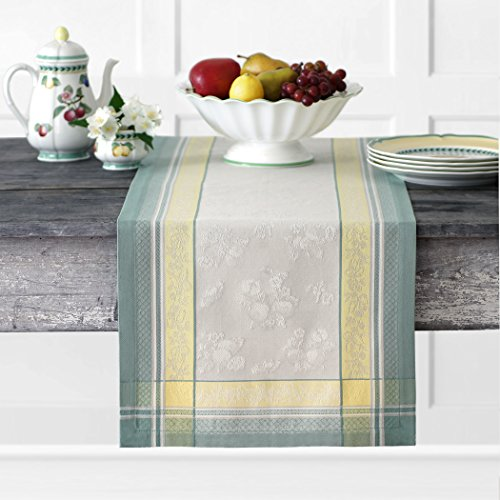 Villeroy and Boch Fleurence Jacquard Cotton Fabric Table Runner, 16' x 72', Multicolor