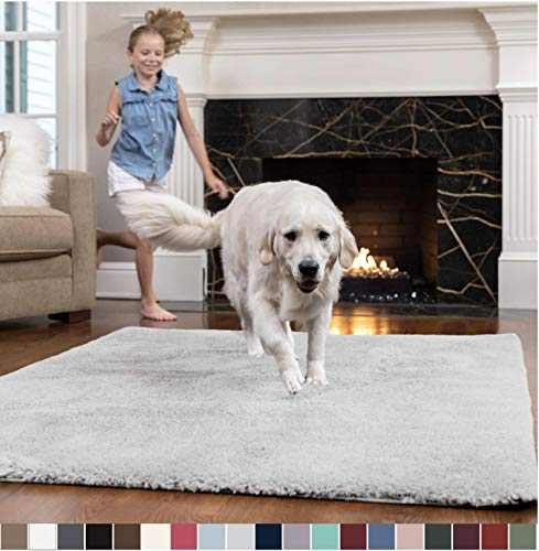 GORILLA GRIP Original Faux-Chinchilla Area Rug, 4x6 Feet, Soft and Cozy High Pile Washable Kids Carpet, Modern Rugs for Floor, Luxury Shag Carpets for Home, Nursery, Bed and Living Room, Light Gray