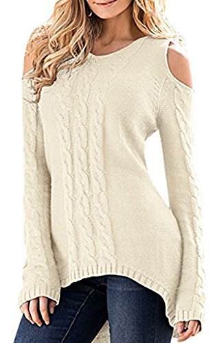 Merryfun Women's Cold Shoulder Sweater Fall Long Sleeve Knit Pullover Tops Beige,M
