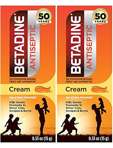 Betadine First Aid Cream Povidone Iodine Antiseptic, 0.53 oz, 2 Count