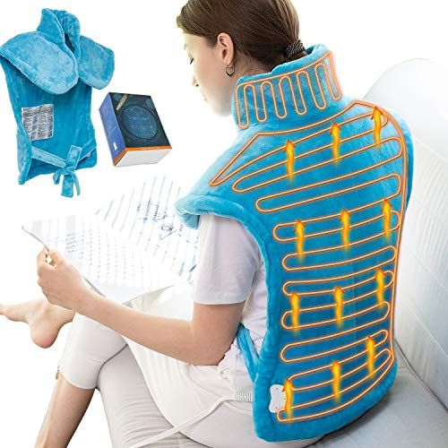 Electric Heating Pad for Neck, Shoulder and Back Pain Relief, 24'x33' XX Large Heating Pad Wrap, Soothing Muscle Pain and Cramps Relief, 6 Electric Temperature Options, Moist Heat Wrap for Back