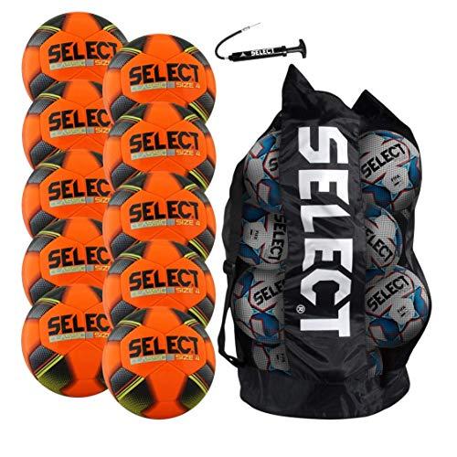 SELECT Classic Soccer Ball Pack - 10 Size 4 Soccer Balls, Duffle Ball Bag and Ball Pump, Orange
