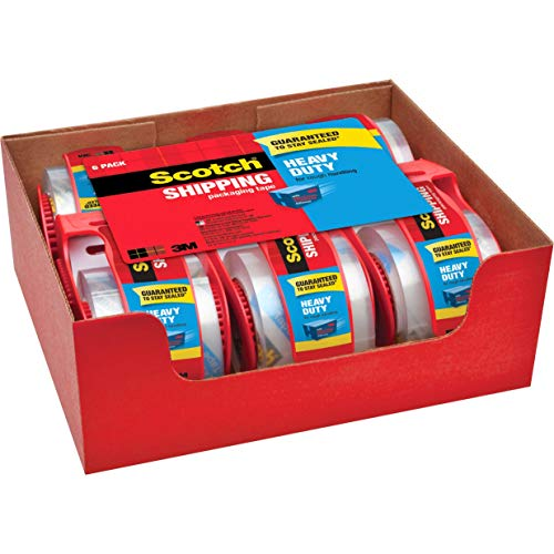 Scotch Heavy Duty Packaging Tape, 1.88' x 22.2 yd, Designed for Packing, Shipping and Mailing, Strong Seal on All Box Types, 1.5' Core, Clear, 6 Rolls with Dispenser (142-6)