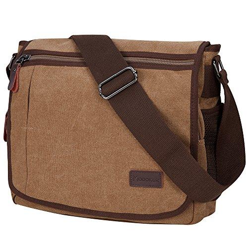 Modoker Messenger Bag for Men, 13 Inches Laptop Satchel Bags, Canvas Shoulder Bag with Bottle Pocket, Brown