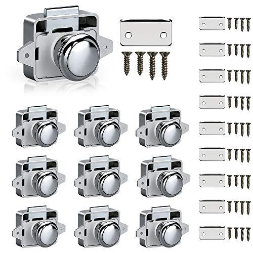 Trycooling 10Pcs Push Button Latch Kit ABS Keyless Push Button Door Lock Mini Marine Push Lock Knob for Cabinet/Boat/RV/Drawer Silver