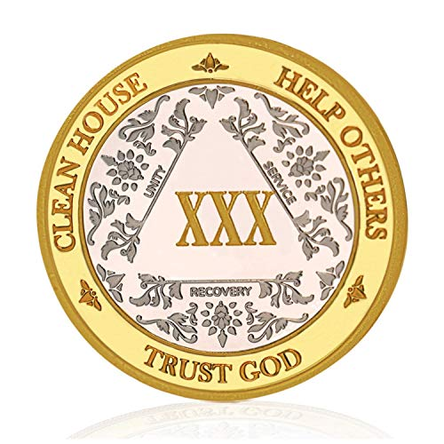 Silver & Gold 30 Year Alcoholics Anonymous Medallion AA Coin Capsule Included