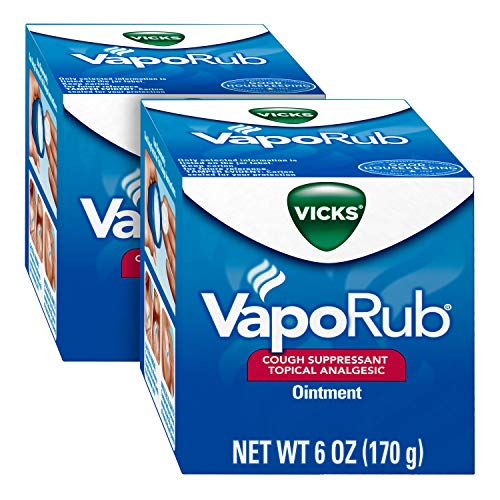 Vicks VapoRub Chest Rub Ointment 6 oz (2 Pack) - Relief from Cough, Cold, Aches, and Pains, with Original Medicated Vicks Vapors (12 oz Total)